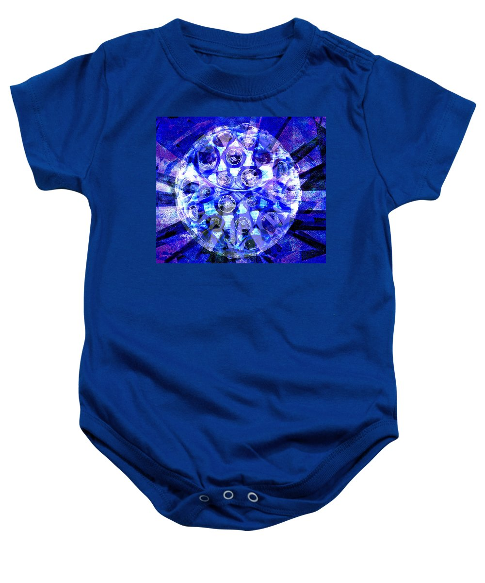 Abstract Baby Onesie featuring the digital art Azure Orb Of Midas by Seth Weaver