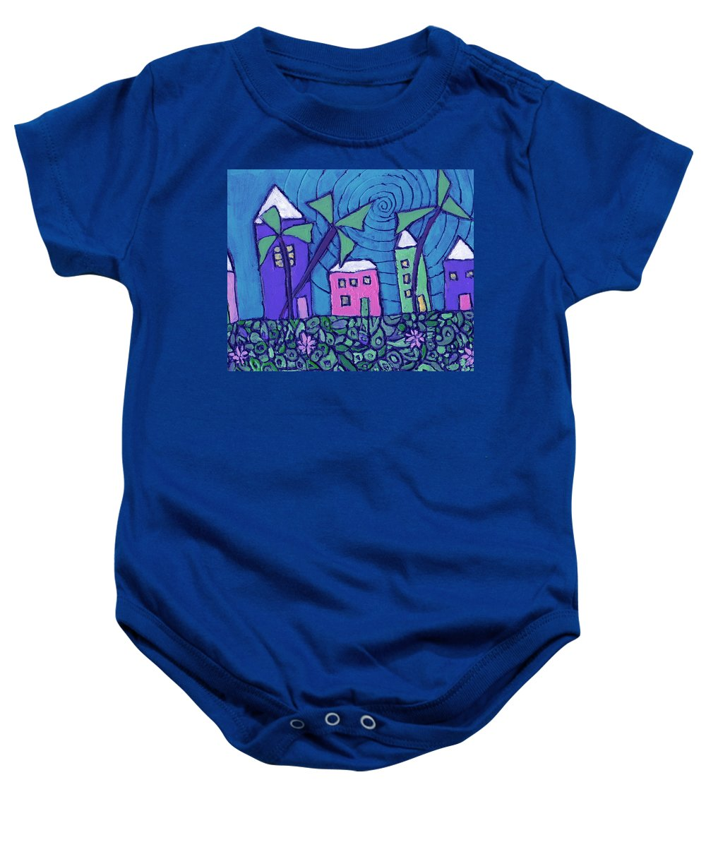 Whimsical Baby Onesie featuring the painting Back Home On The Island by Wayne Potrafka