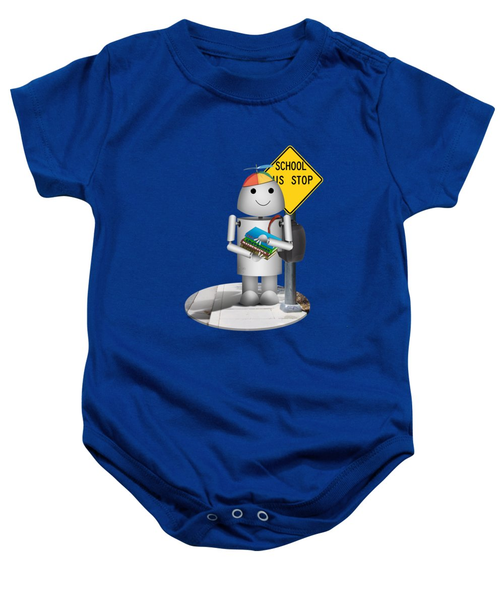 Back To School Baby Onesie featuring the mixed media Back To School Little Robox9 by Gravityx9 Designs