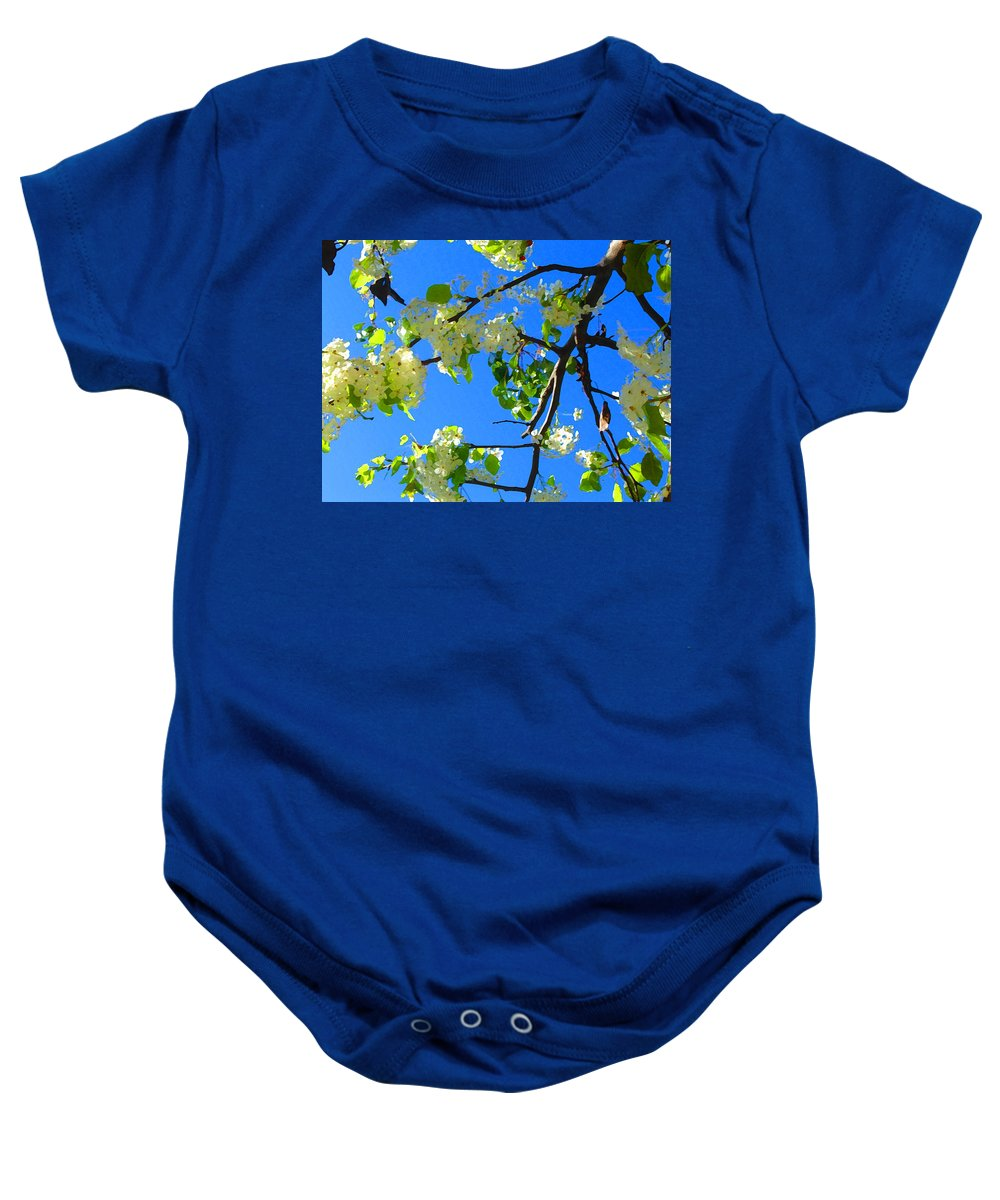 Tree Blossoms Baby Onesie featuring the painting Backlit White Tree Blossoms by Amy Vangsgard