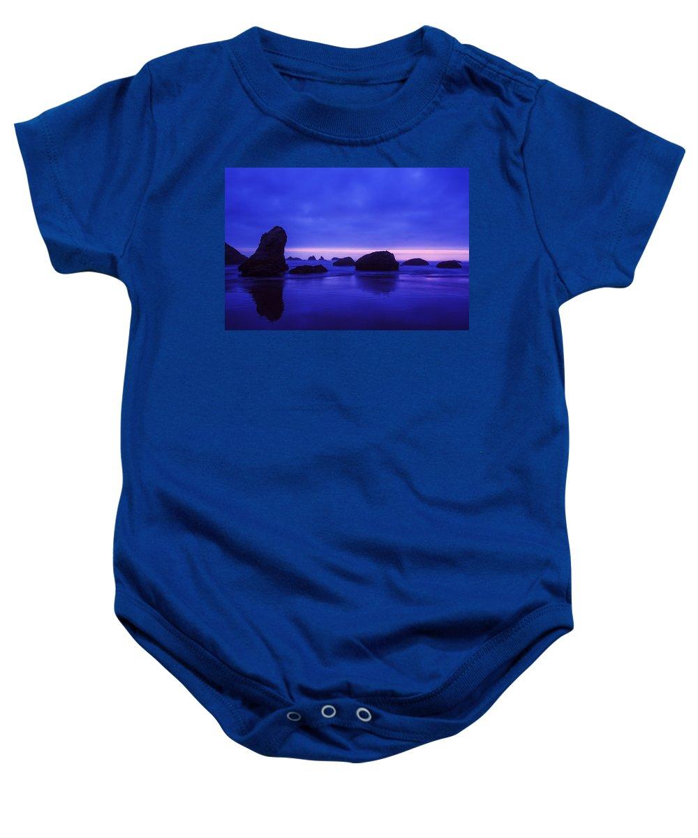 Bandon Beach Baby Onesie featuring the photograph Bandon Beach Oregon Blue Sunset by Vishwanath Bhat