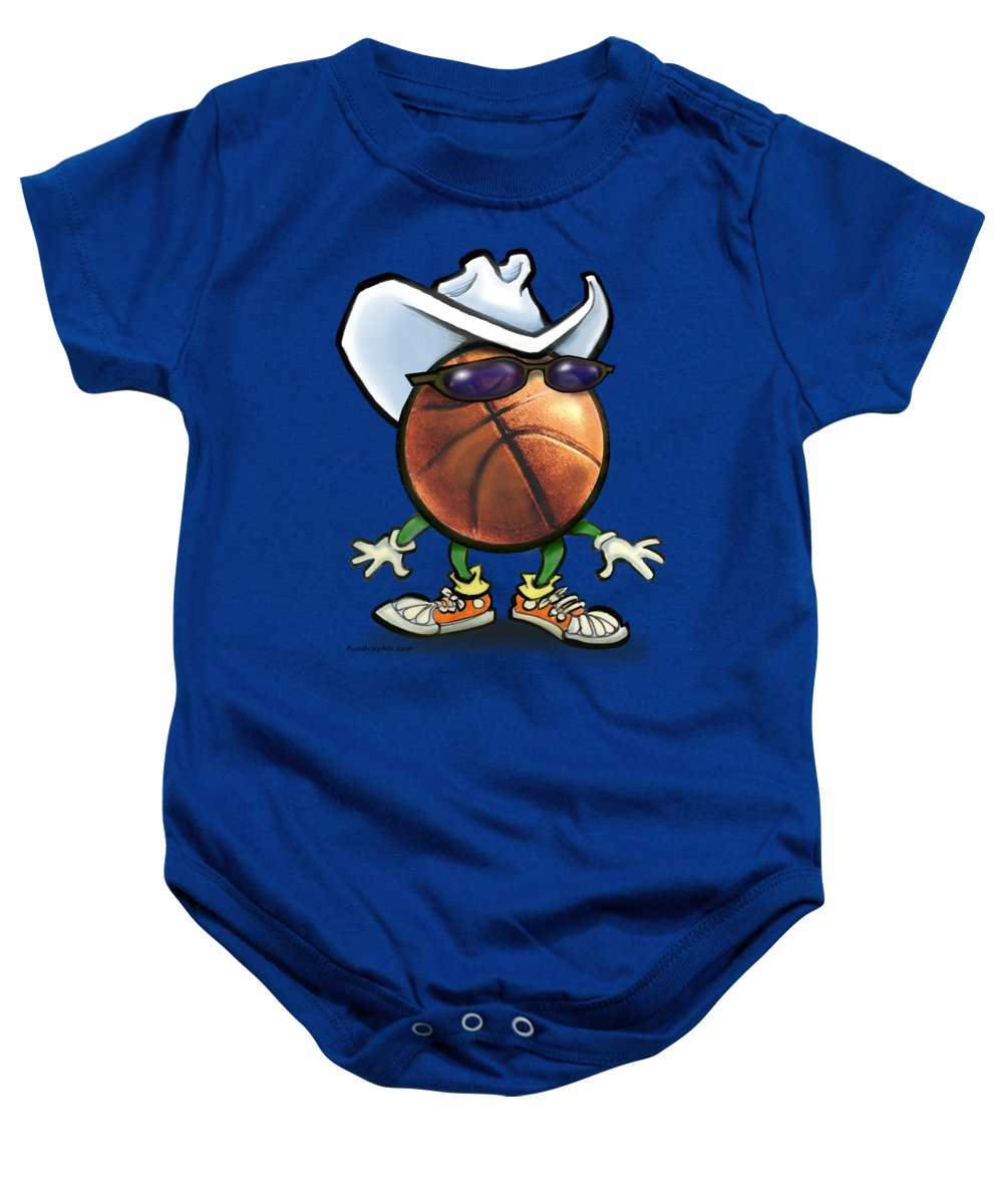 Basketball Baby Onesie featuring the digital art Basketball Cowboy by Kevin Middleton