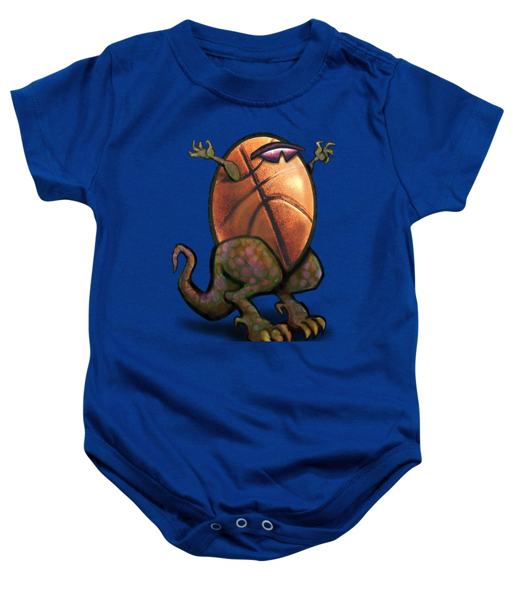 Basketball Baby Onesie featuring the digital art Basketball Saurus Rex by Kevin Middleton
