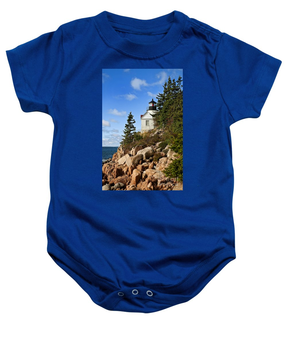 Concept Baby Onesie featuring the photograph Bass Harbor Light by John Greim