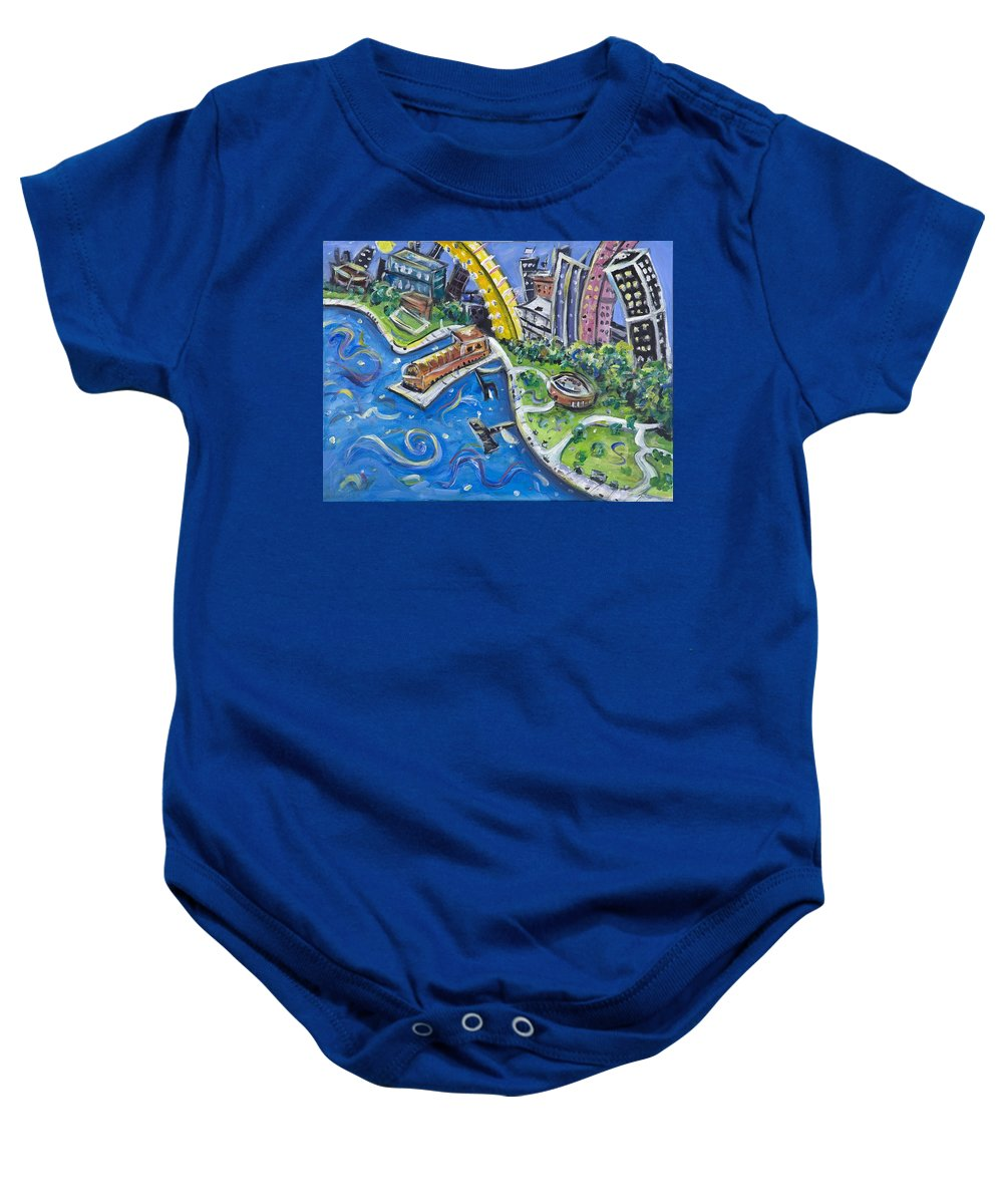 Battery Park New York City Manhattan Wall Street Hudson River Buildings Water Boat South Baby Onesie featuring the painting Battery Park by Jason Gluskin