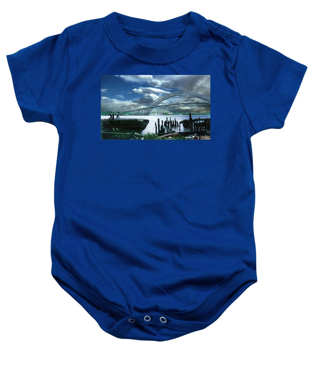 Seascape Baby Onesie featuring the photograph Bayonne Bridge by Steve Karol