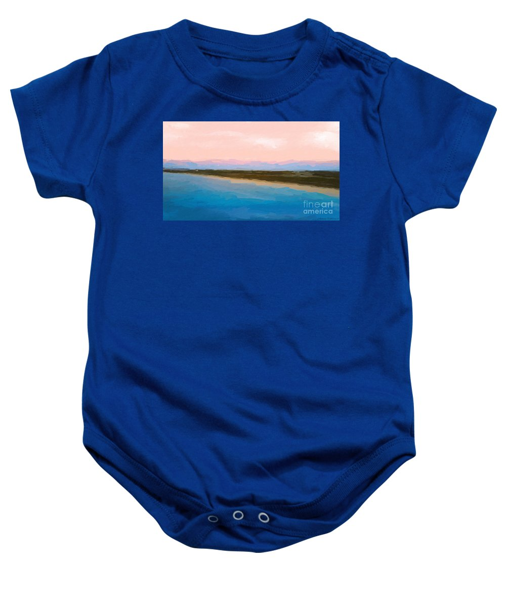 Anthony Fishburne Baby Onesie featuring the mixed media Beach Happyness by Anthony Fishburne