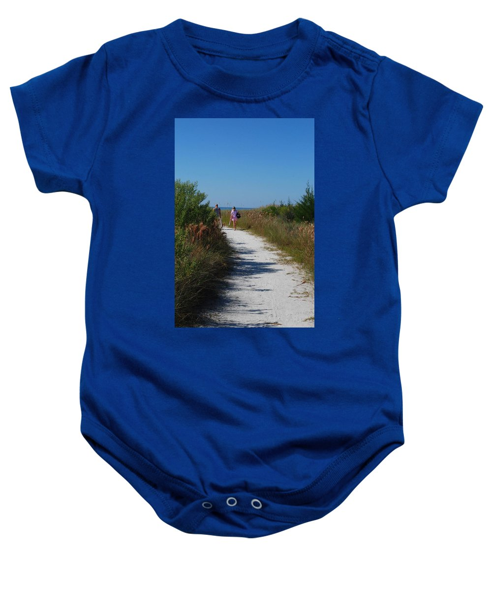 Walking Baby Onesie featuring the photograph Beach Stroll by Gary Wonning