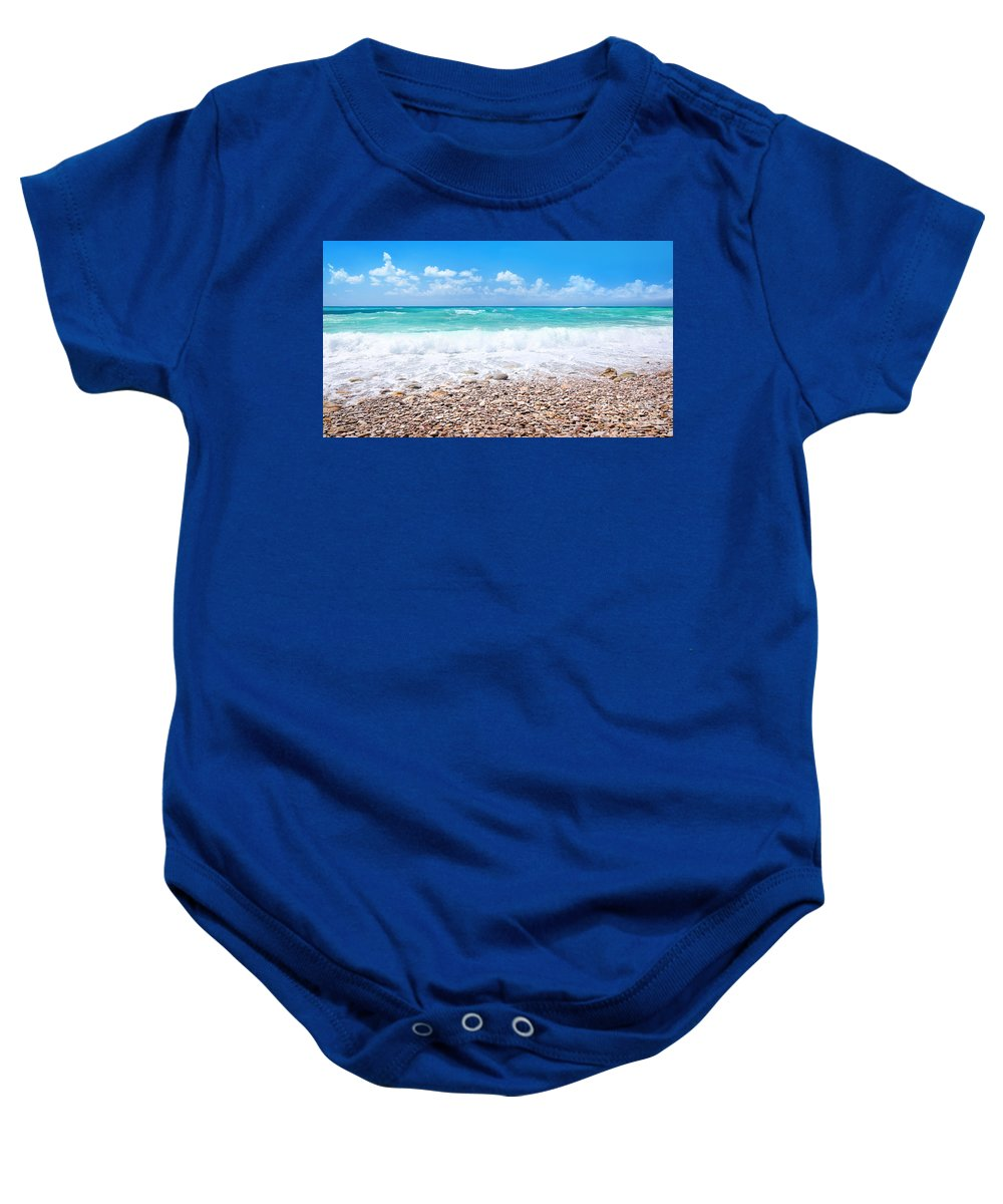 Background Baby Onesie featuring the photograph Beautiful Beach Panoramic Landscape by Anna Om