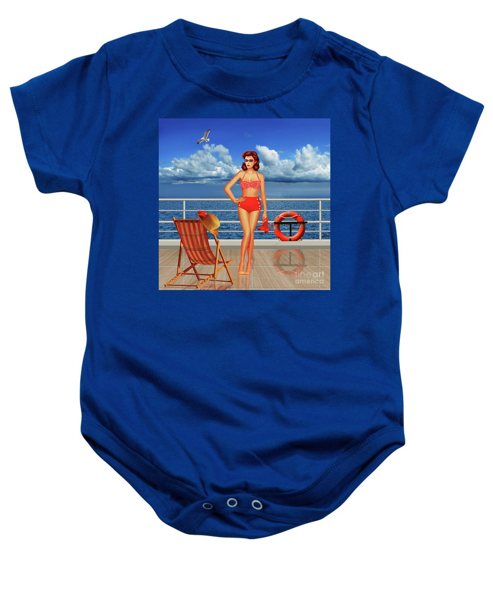 50 Baby Onesie featuring the digital art Beauty From The 50s In Bikini by Monika Juengling