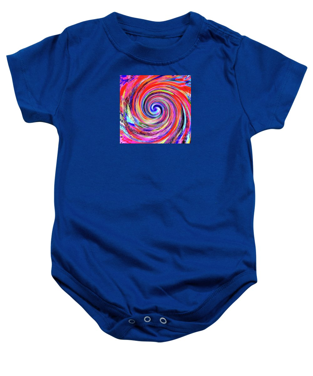 The Mother Vortex.all Colors .red Dominates .tight Center And Vivid Vibrant Colors . Baby Onesie featuring the digital art Because I Can by Expressionistart studio Priscilla Batzell