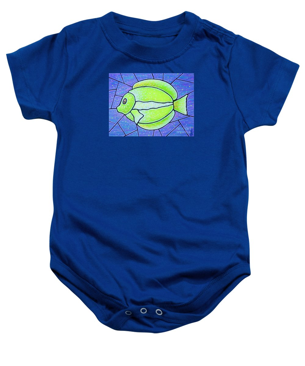 Tropical Fish Baby Onesie featuring the painting Beckys Yellow Tropical Fish by Jim Harris