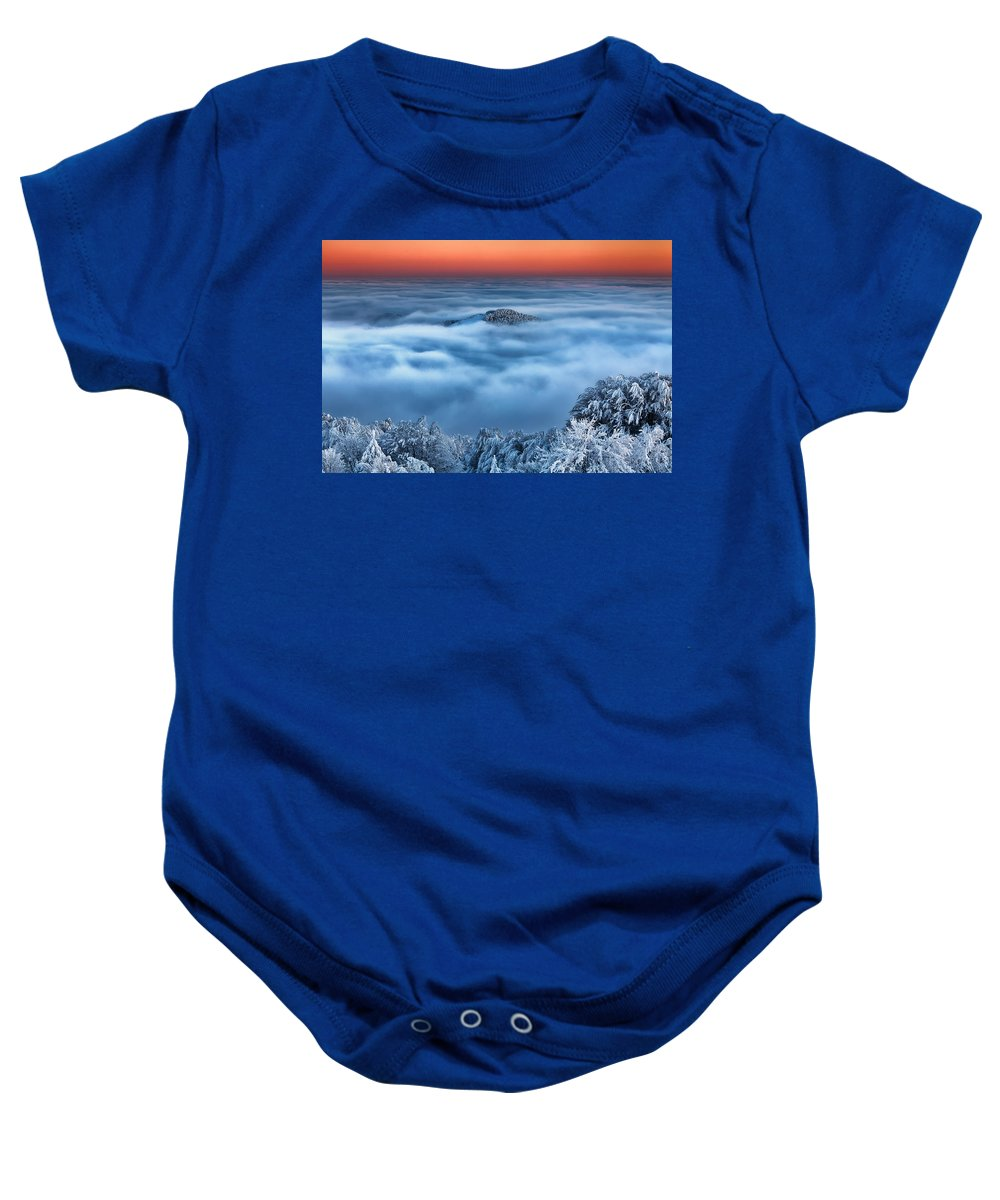 Clouds Baby Onesie featuring the photograph Bed Of Clouds by Evgeni Dinev