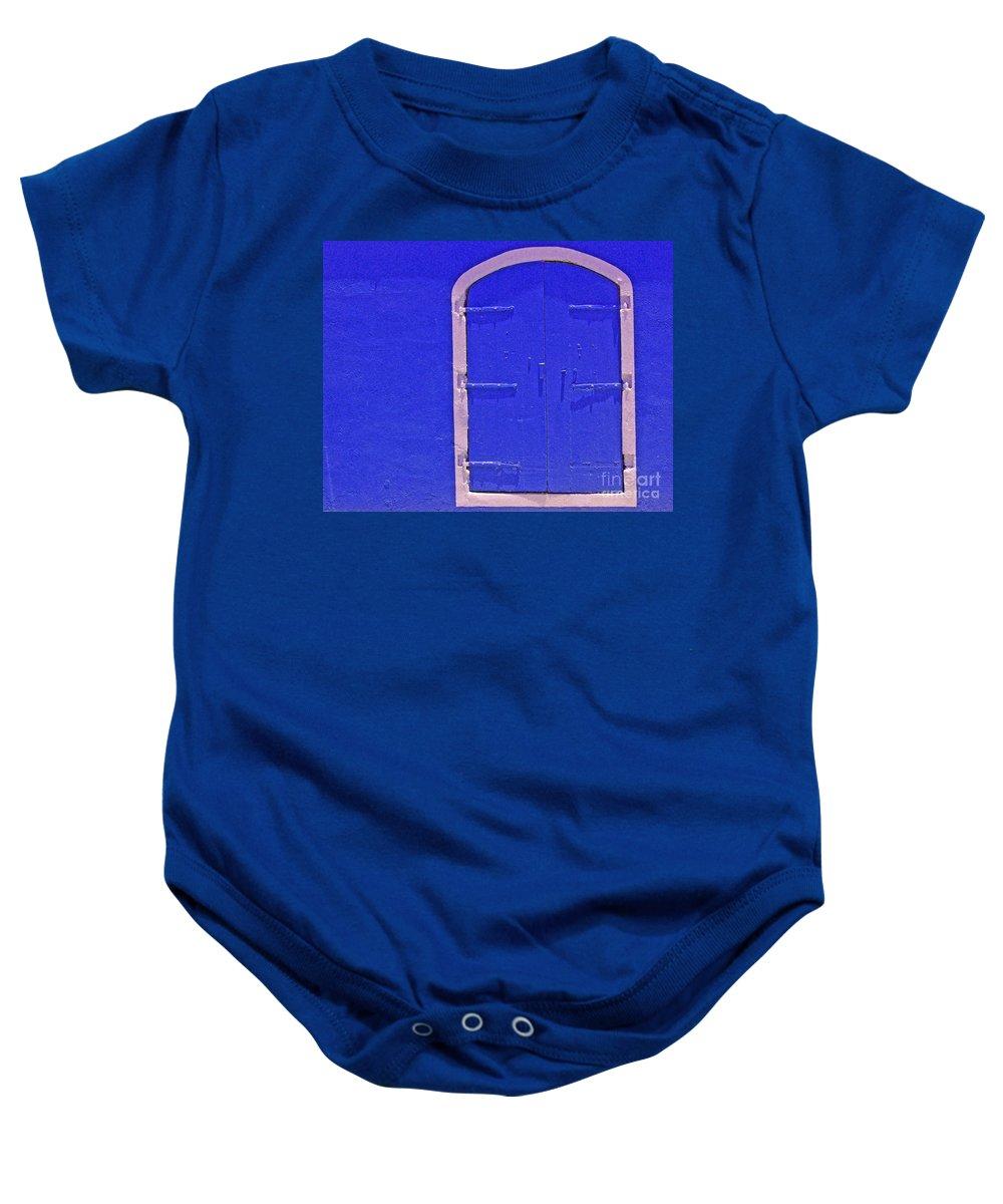 Door Baby Onesie featuring the photograph Behind The Blue Door by Debbi Granruth