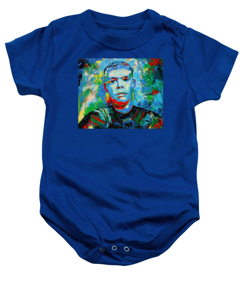 Ben Baby Onesie featuring the painting Ben by Angie Wright