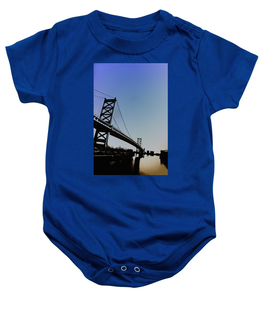 Philadelphia Baby Onesie featuring the photograph Ben Franklin Bridge by Bill Cannon
