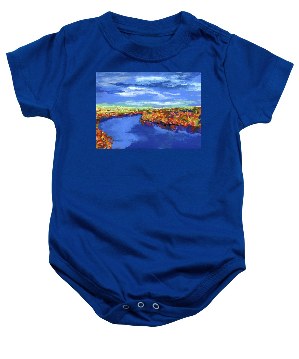 River Baby Onesie featuring the painting Bend In The River by Stephen Anderson