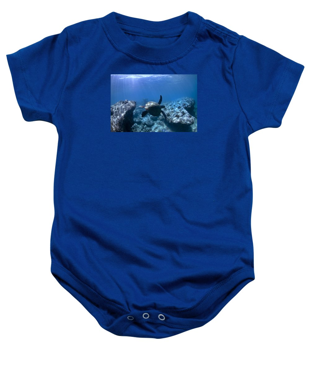 Underwater Baby Onesie featuring the photograph Between Two Rocks by Sean Davey