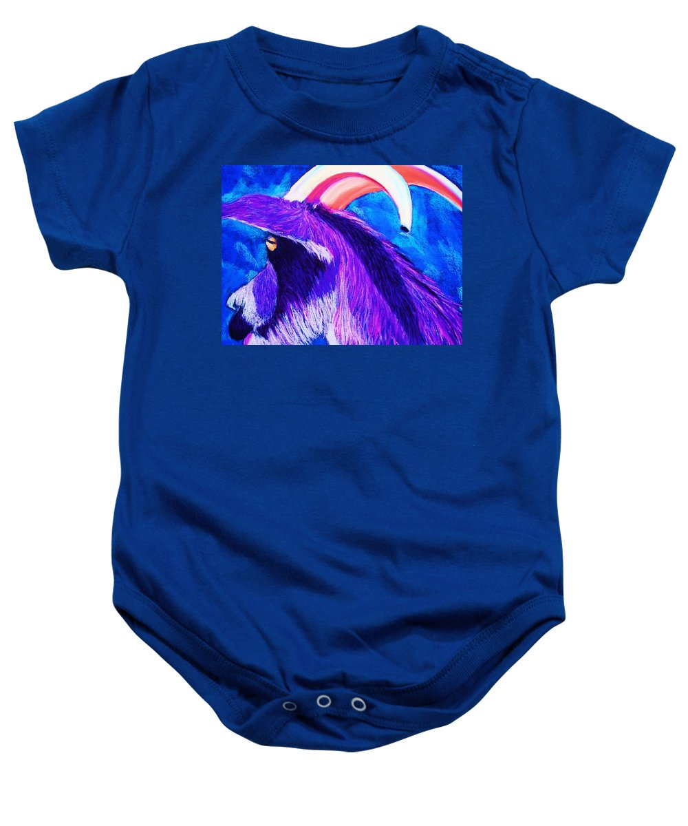 Goat Baby Onesie featuring the pastel Billy The Kid by Melinda Etzold
