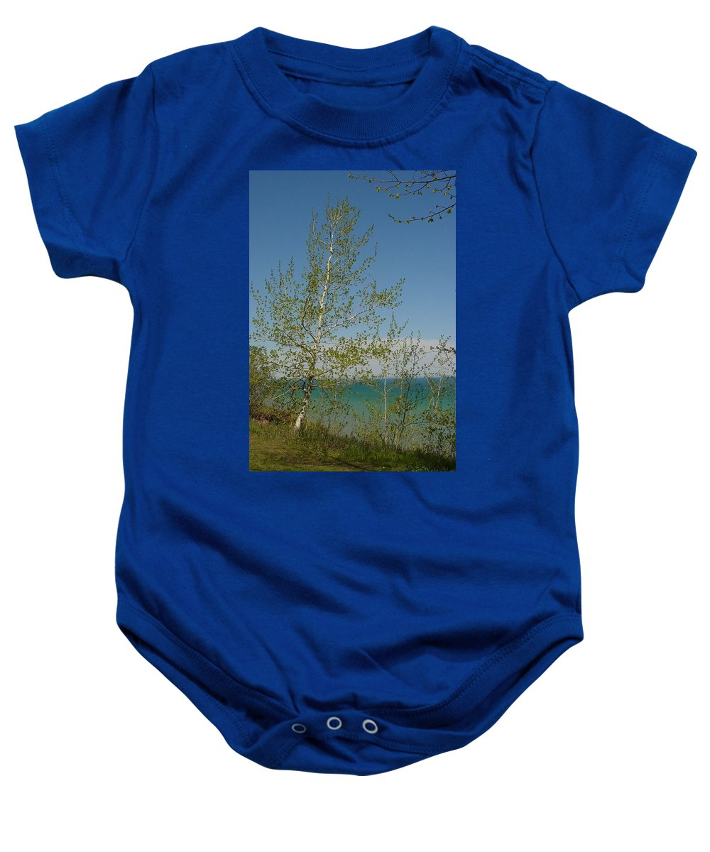Birch Tree Baby Onesie featuring the photograph Birch Tree Over Lake by Anita Burgermeister