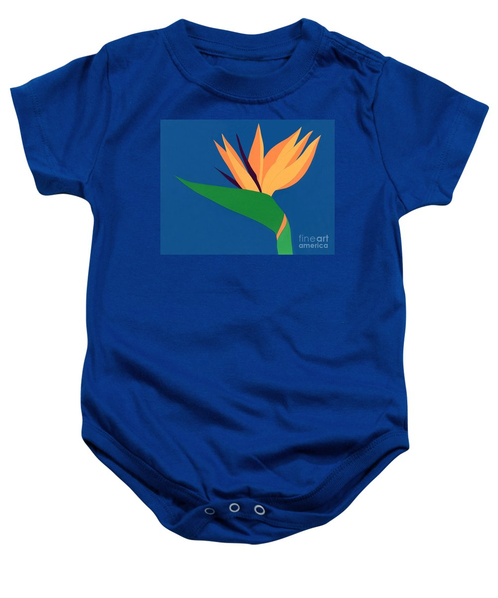 Nature Baby Onesie featuring the drawing Bird Of Paradise by Lucyna A M Green