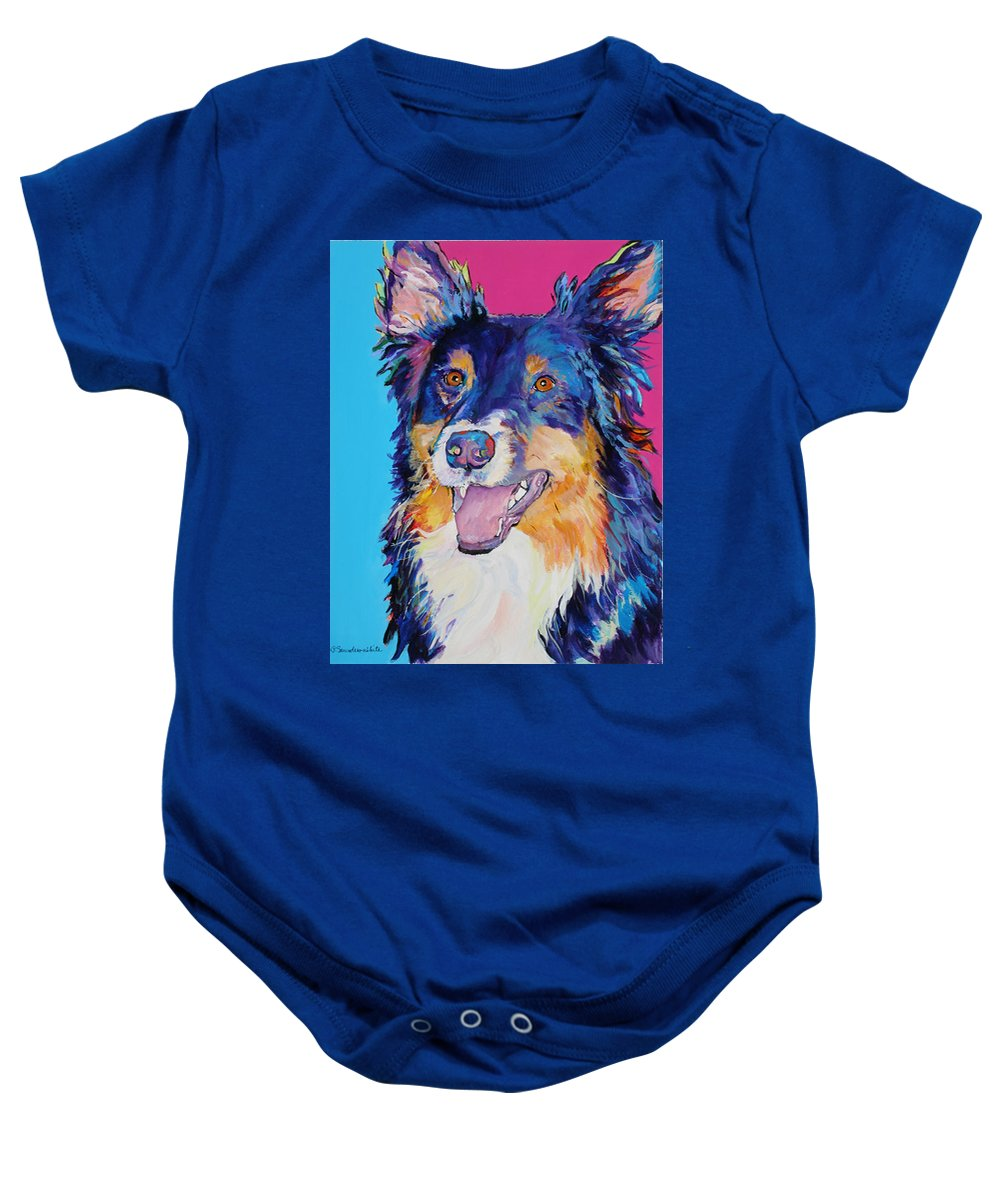 Dog Baby Onesie featuring the painting Blackjack by Pat Saunders-White