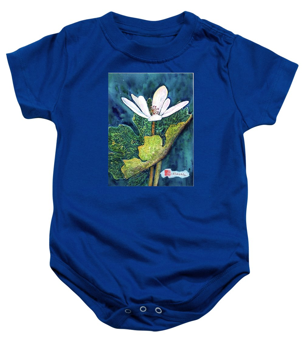 White Flower Baby Onesie featuring the painting Blood Root by Norma Boeckler