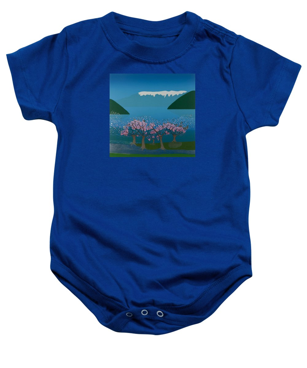 Landscape Baby Onesie featuring the mixed media Blossom In The Hardanger Fjord by Jarle Rosseland