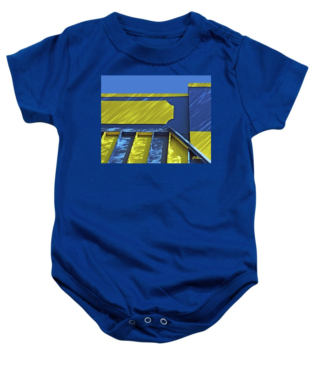 Blue Baby Onesie featuring the photograph Blue And Yellow Shadows by Claudia O'Brien