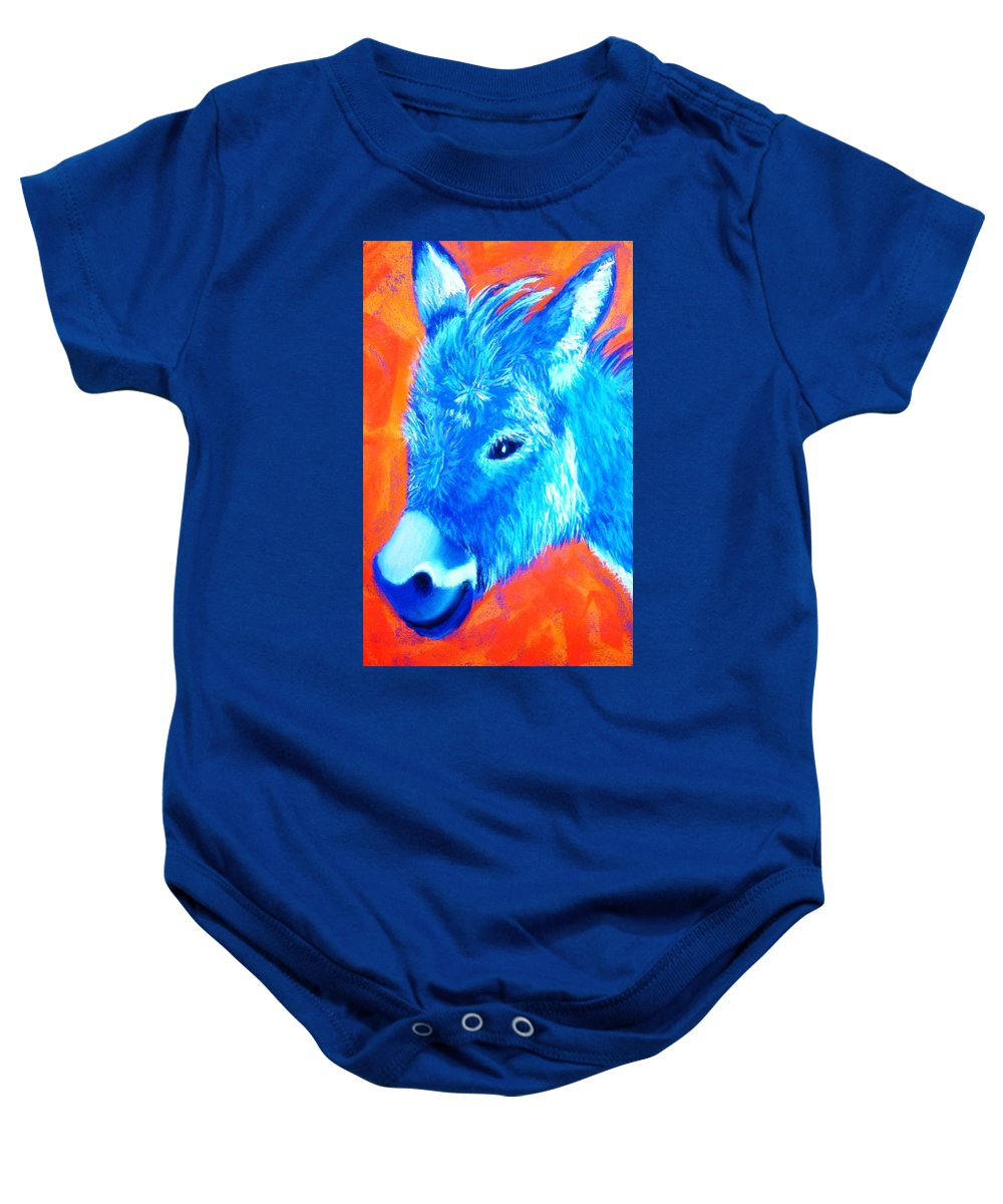 Burro Baby Onesie featuring the painting Blue Burrito by Melinda Etzold
