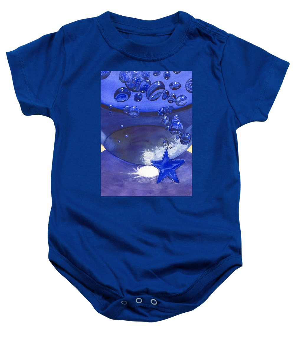 Blue Baby Onesie featuring the painting Blue by Catherine G McElroy