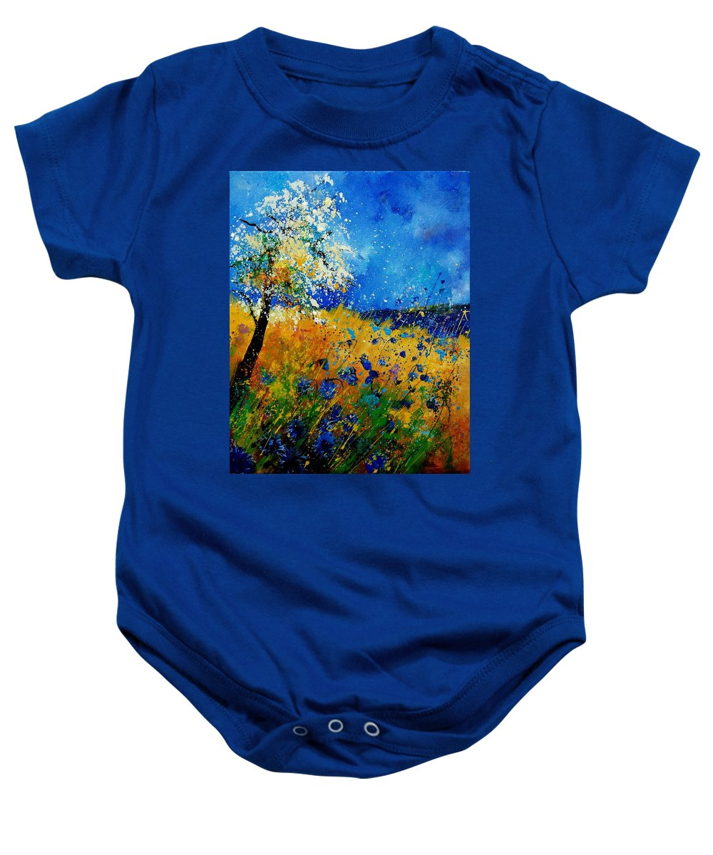 Poppies Baby Onesie featuring the painting Blue Cornflowers 450108 by Pol Ledent