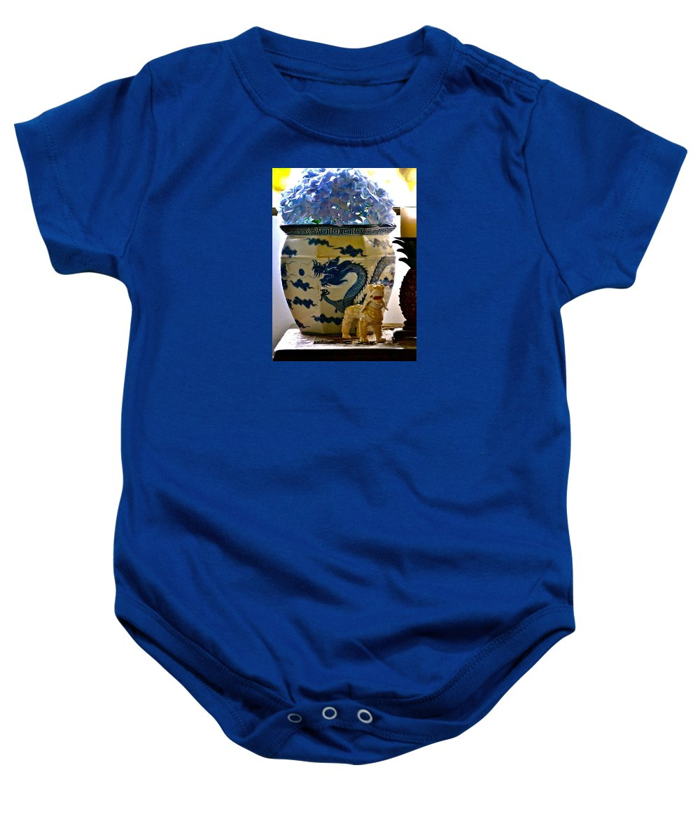 Hawaii Baby Onesie featuring the photograph Blue Dragon And Hydrangeas by Lehua Pekelo-Stearns