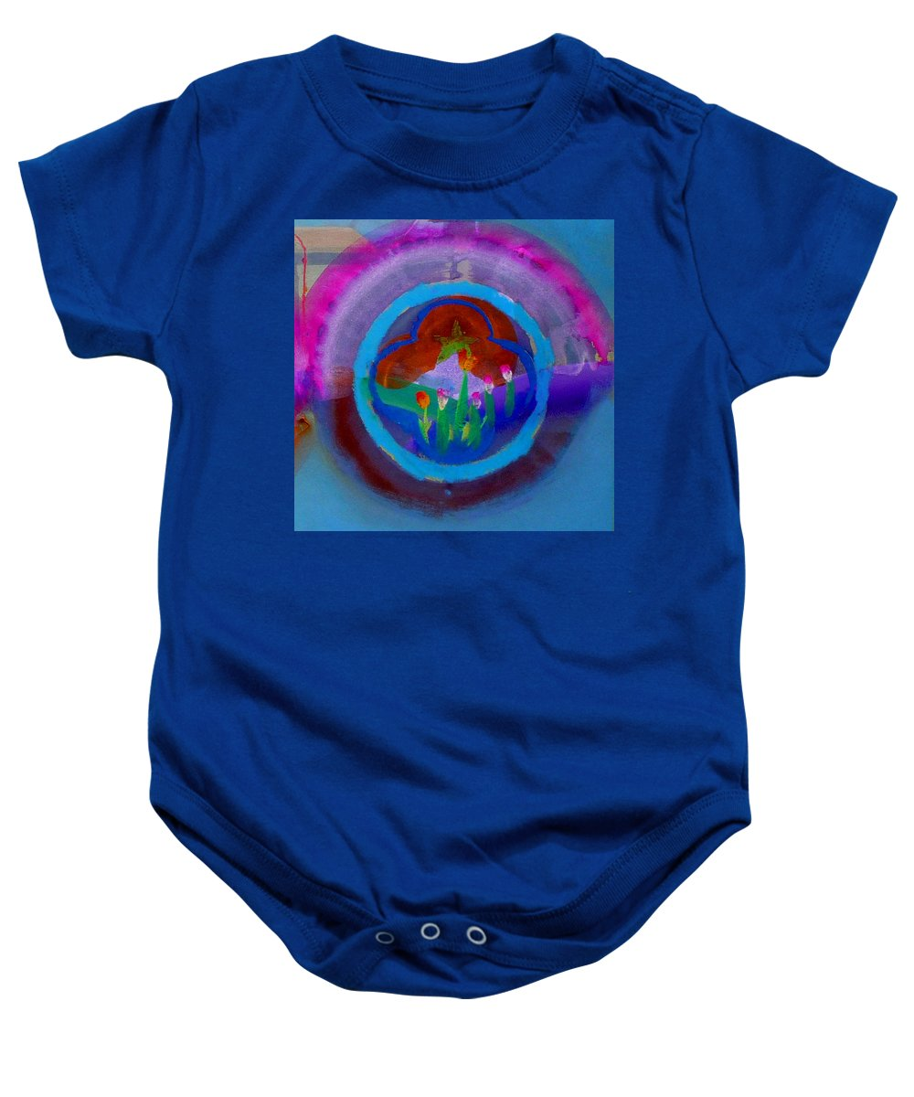 Love Baby Onesie featuring the painting Blue Embrace by Charles Stuart