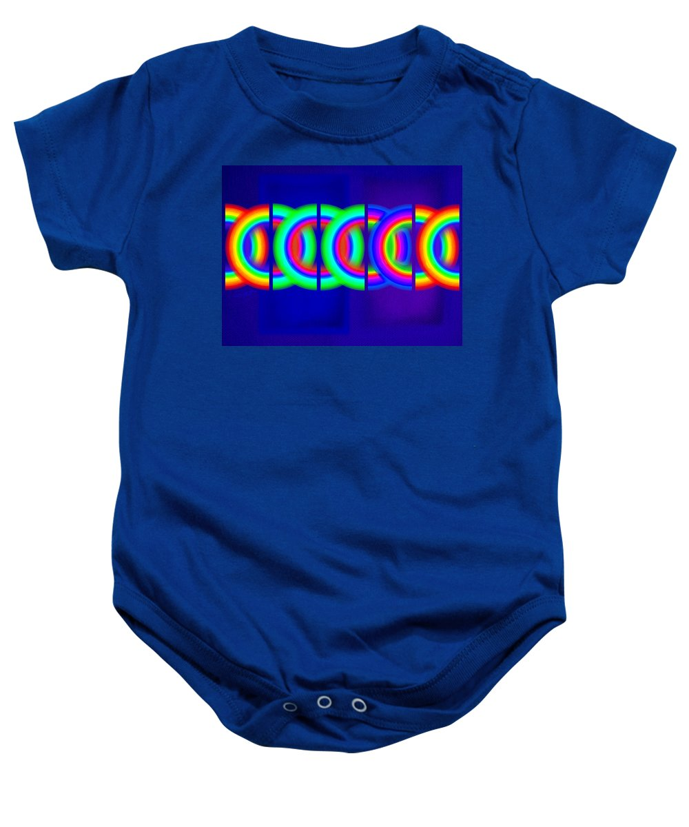 Abstract Baby Onesie featuring the painting Blue Games by Charles Stuart