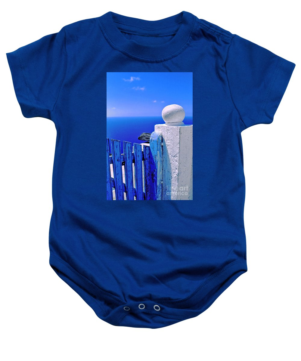 Blue Baby Onesie featuring the photograph Blue Gate by Silvia Ganora