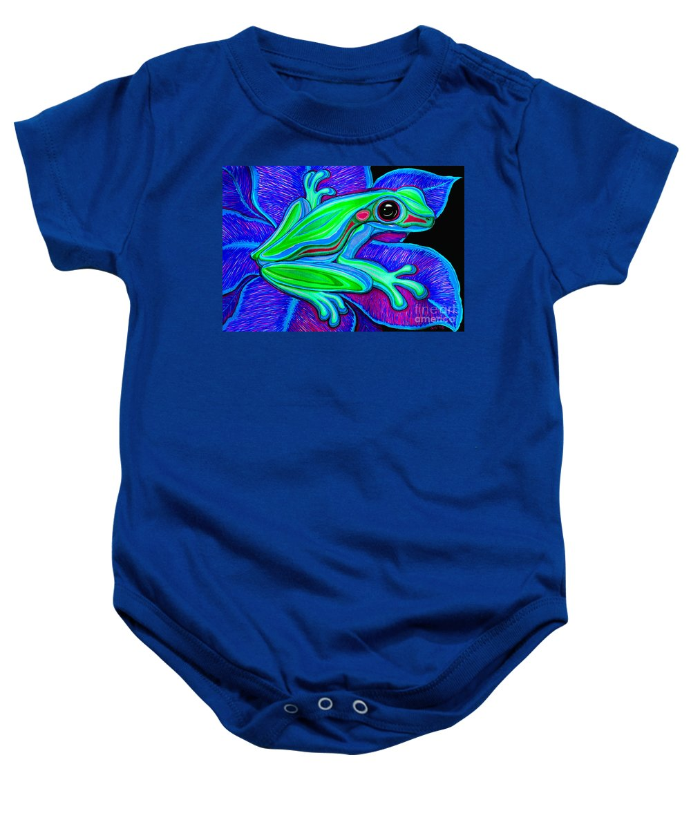 Frog Baby Onesie featuring the drawing Blue Green Frog by Nick Gustafson