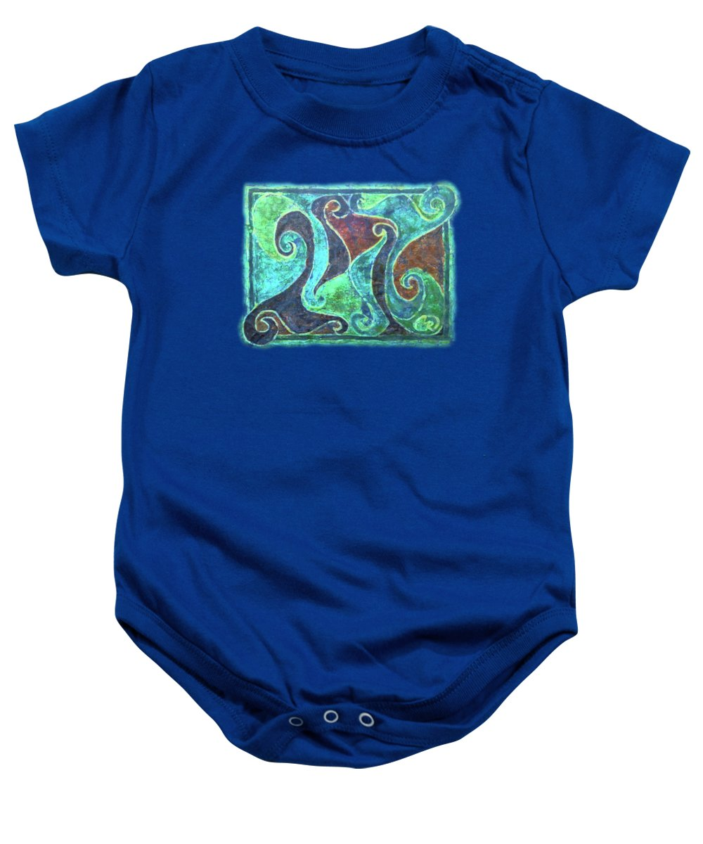 Batik Baby Onesie featuring the tapestry - textile Blue Island Curves by Lori Russell