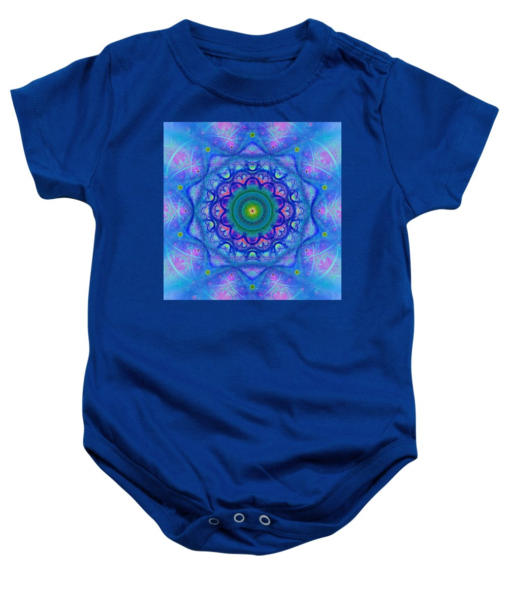 Blue; Mandala; Square; Tile; Regular; Repeat; Mirroring; Symmetrical; Turquoise; Green; Yellow; Pink; Flower; Floral; Abstract; Geometry; Chaos; Beautiful; Design; Art; Style; Pure; Shade; Gradient; Fashionable; Scarf; Boho; Heart Chakra; Spirituality Baby Onesie featuring the digital art Blue Mandala For Heart Chakra by Lenka Rottova