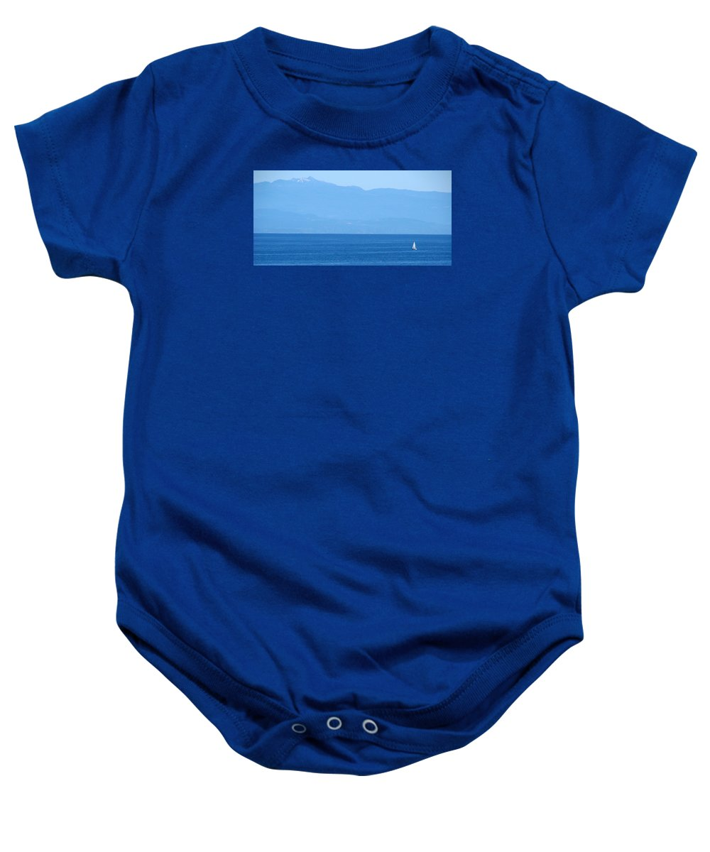 Blue Baby Onesie featuring the photograph Blue Panorama by Ed Mosier