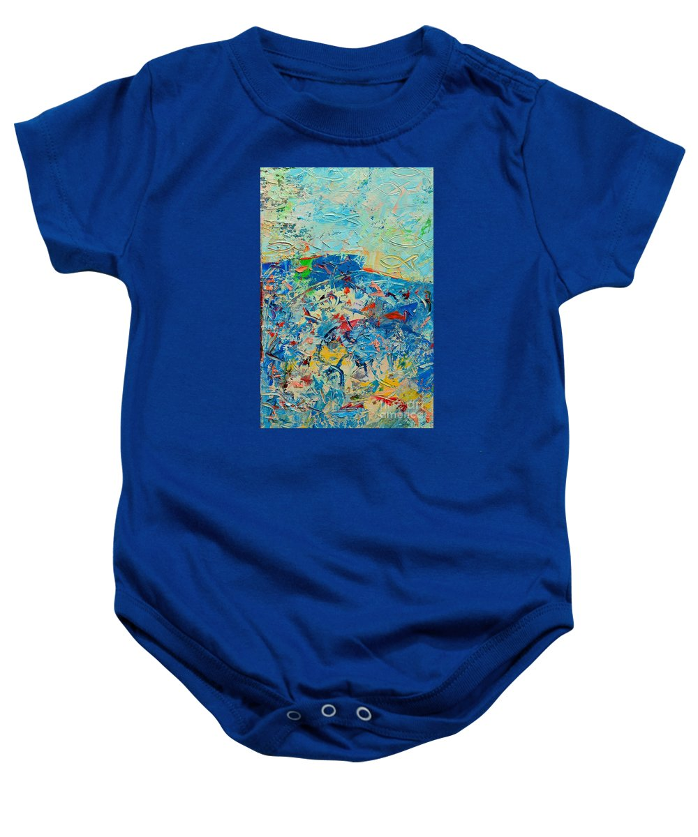 Blue Baby Onesie featuring the painting Blue Play 4 by Ana Maria Edulescu