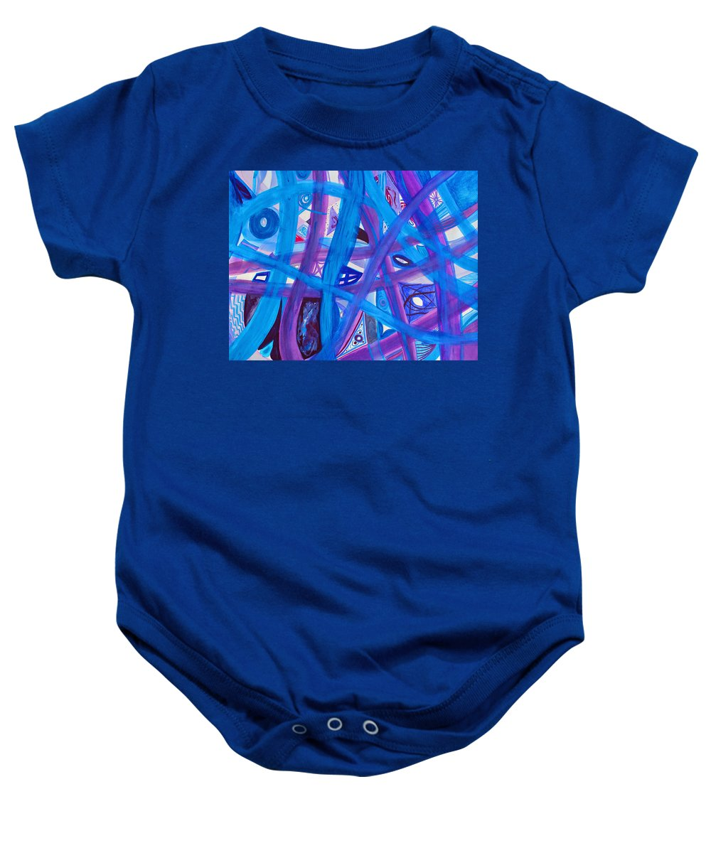 Abstract Baby Onesie featuring the painting Blue Purple Paths by Lee Serenethos