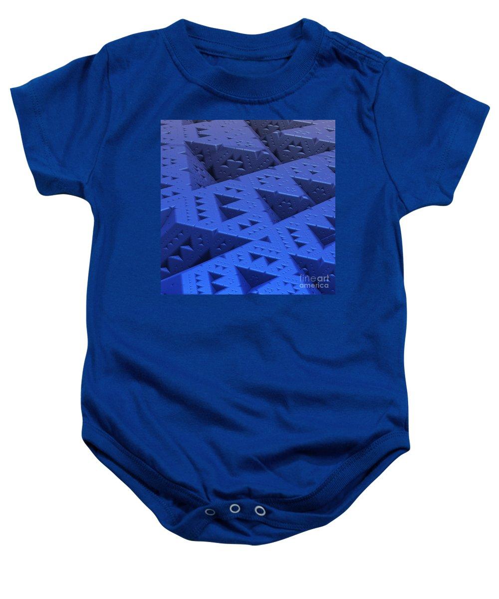 Mandelbulb Baby Onesie featuring the digital art Blue Sierpinski by Lyle Hatch