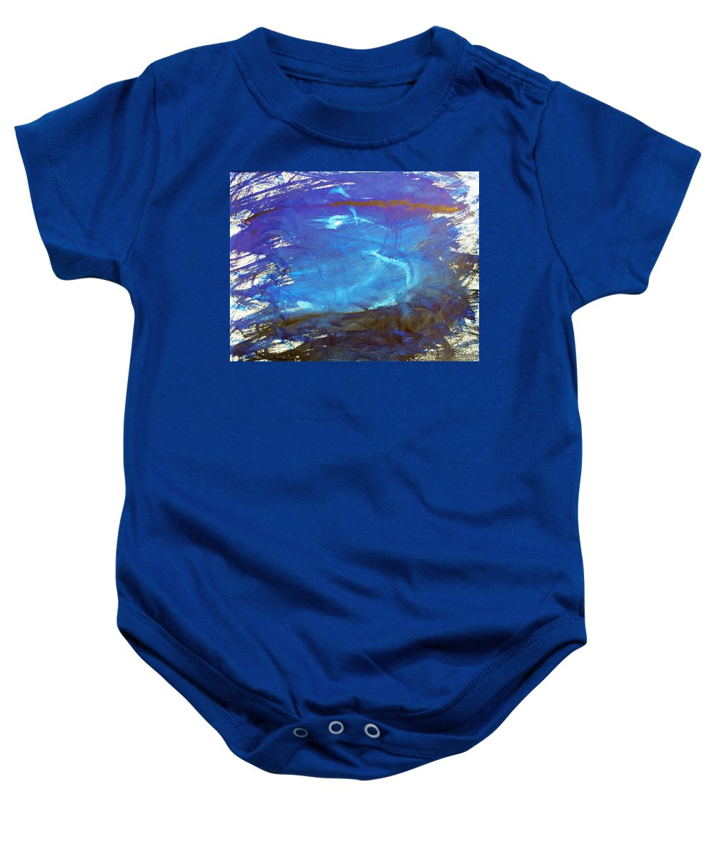 Abstract Baby Onesie featuring the painting Blue Space Water by Lee Serenethos