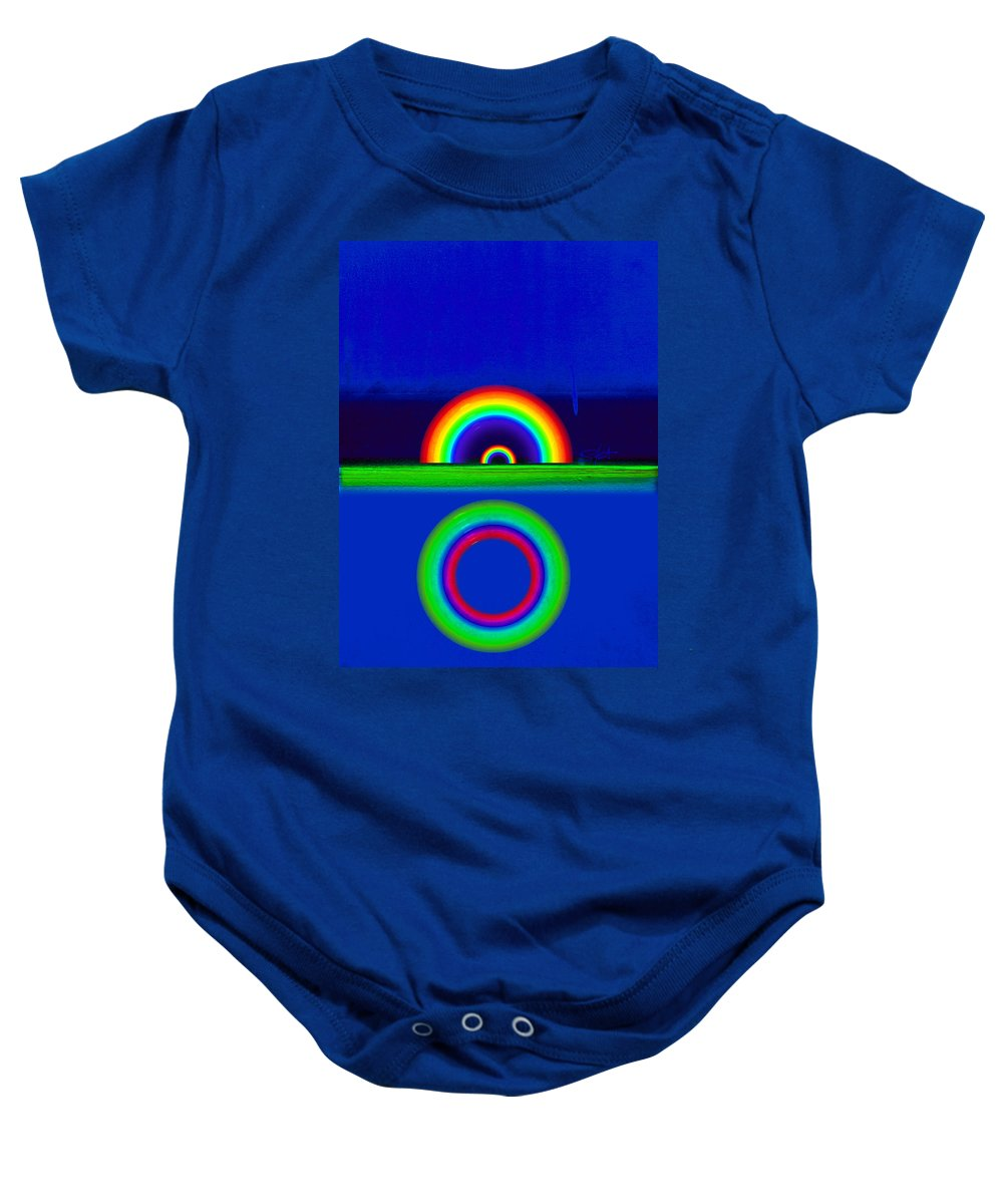 Rainbow Baby Onesie featuring the painting Blue Sunset by Charles Stuart