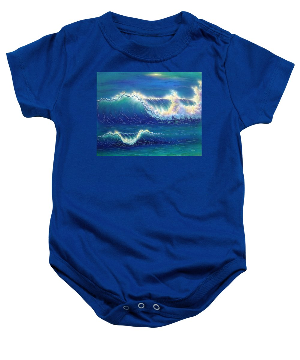 Seascape Baby Onesie featuring the painting Blue Thunder by Angie Hamlin