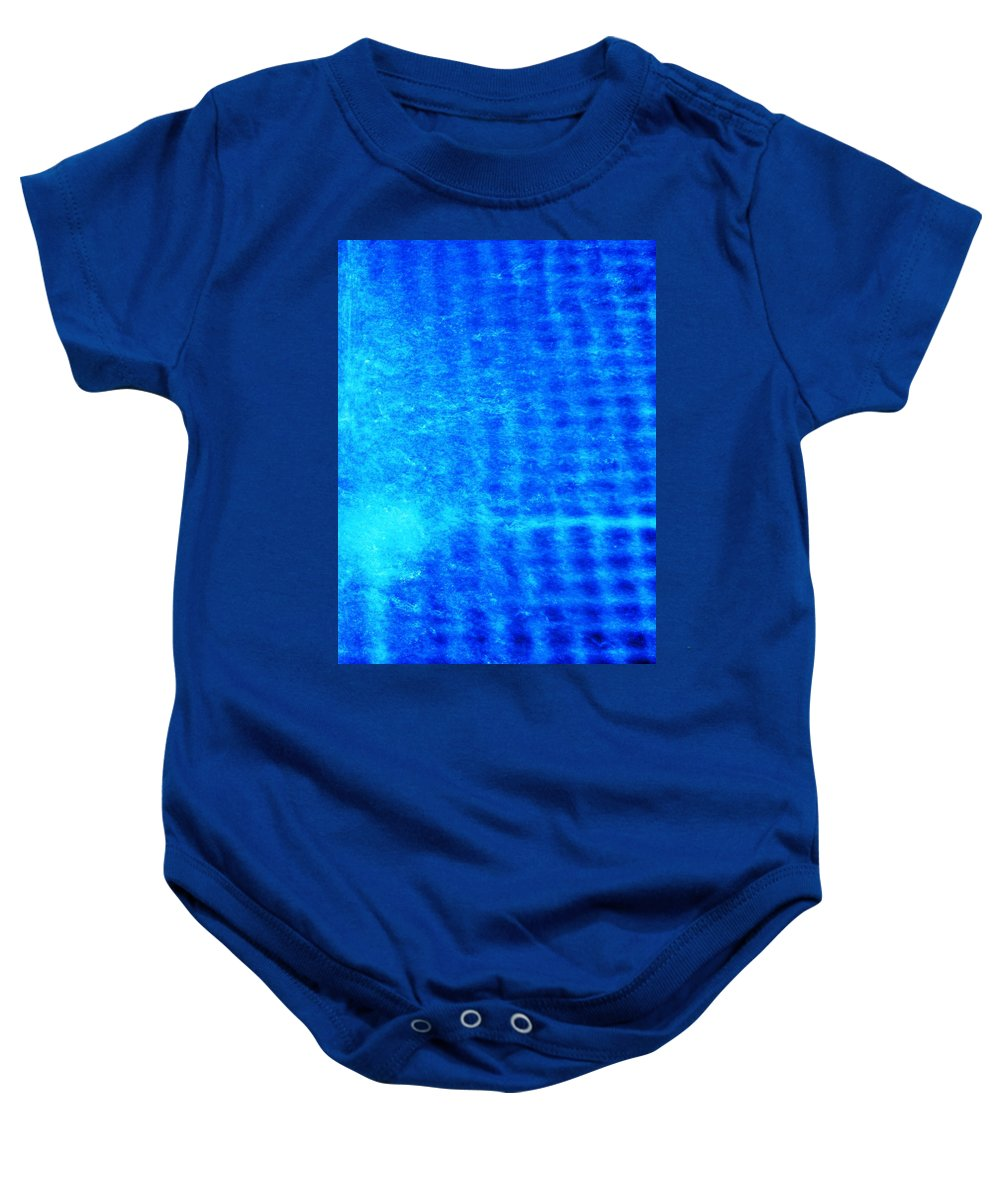 Abstract Baby Onesie featuring the photograph Blue Water Grid Abstract by Eric Schiabor