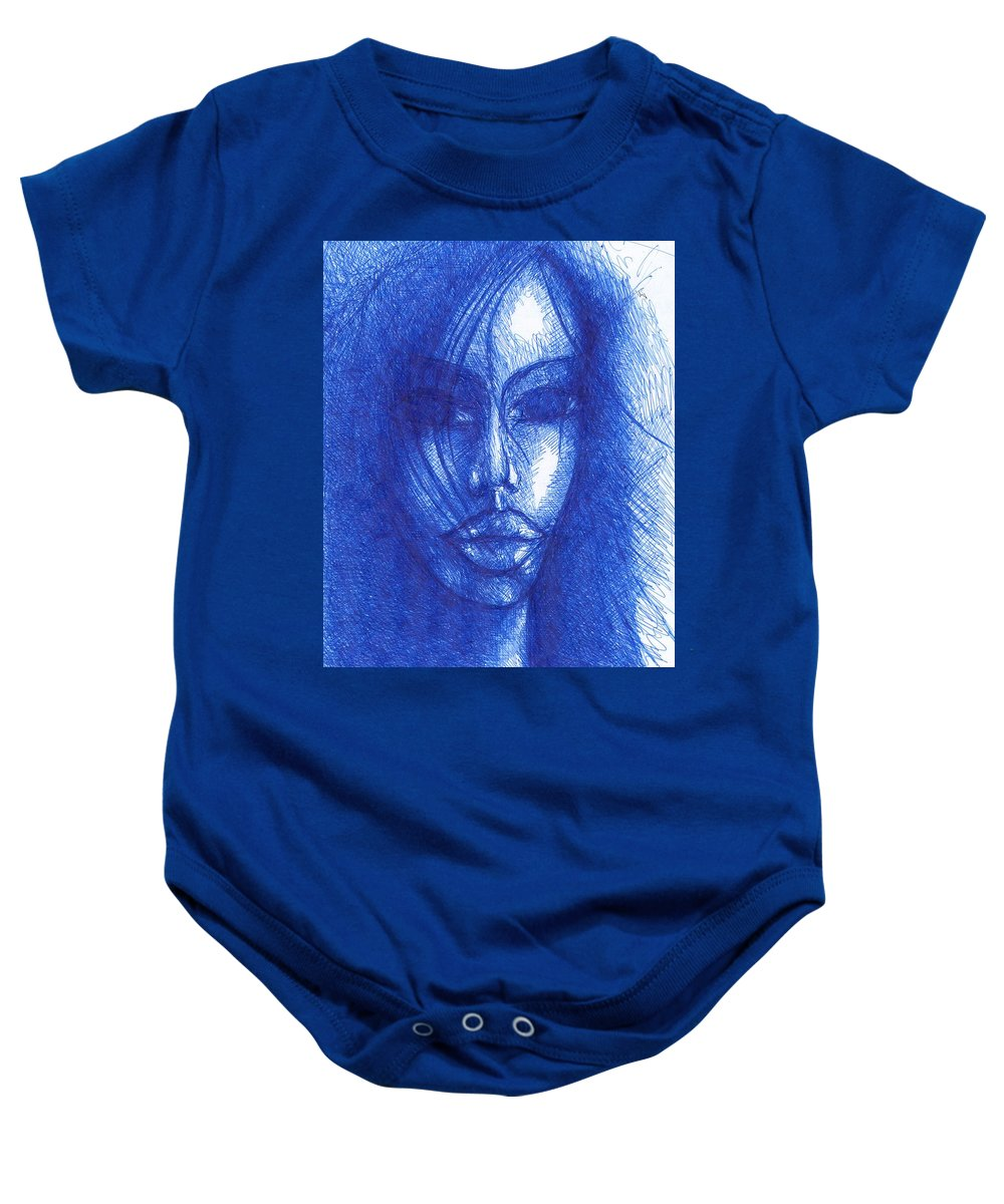 Psychedelic Baby Onesie featuring the drawing Blue by Wojtek Kowalski
