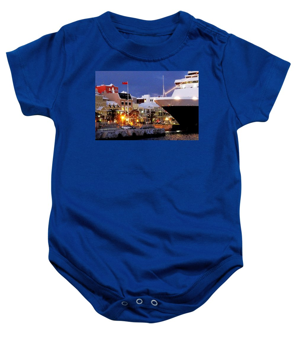 Hamilton Baby Onesie featuring the photograph Boat Is In On Front Street by Ian MacDonald