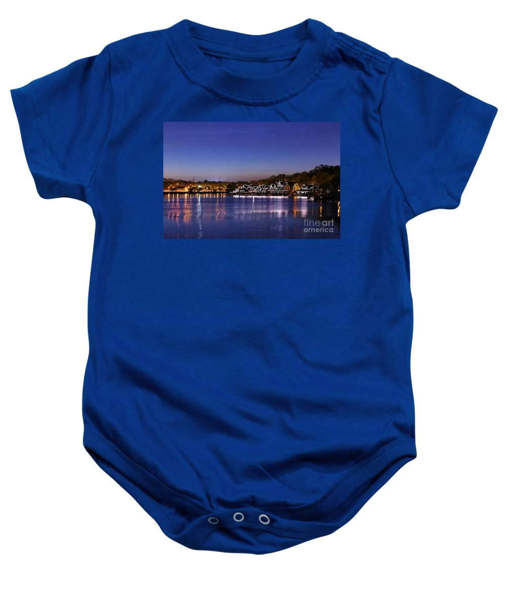 Philadelphia Baby Onesie featuring the photograph Boathouse Row Philly by John Greim